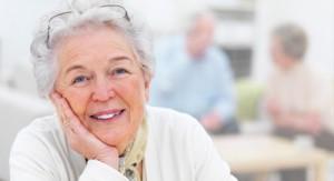Closeup portrait of a smiling elderly woman